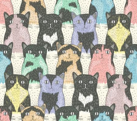 gato dibujo: Patr�n sin fisuras con los gatos lindos para los ni�os