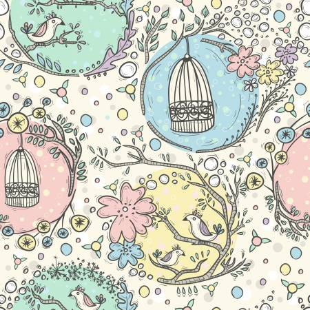 Seamless pattern with birdcages, flowers and birds