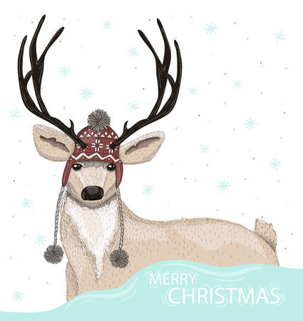 warm clothes: Cute deer with hat winter background