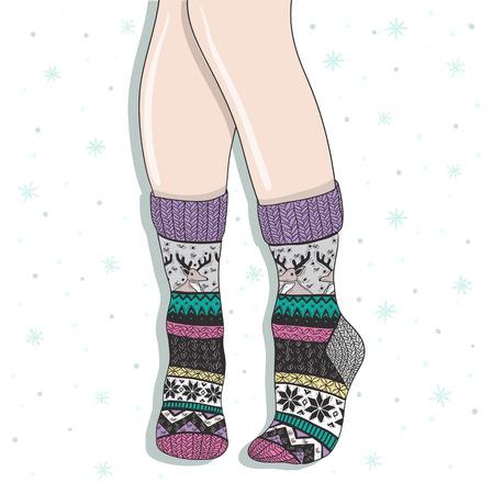 calcetines: La mujer llevaba un par de calcetines de lana de invierno de fondo lindo