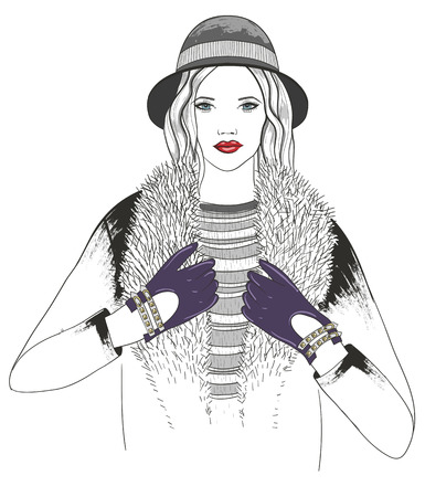 woman fur: Young girl fashion illustration