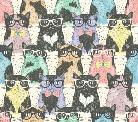 Nahtloses Muster mit niedlichen Katzen hipster für Kinder Standard-Bild - 23764054