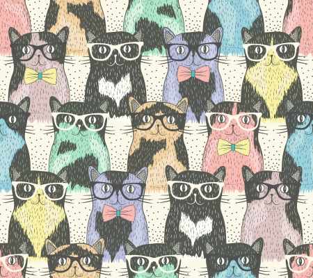 funny cats: Seamless pattern with hipster cute cats for children