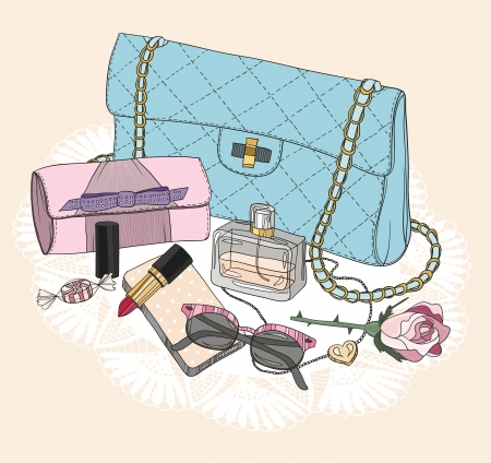 purse: Fashion essentials. Background with bag, sunglasses, shoes, jewelery, perfume, makeup and flowers. Illustration