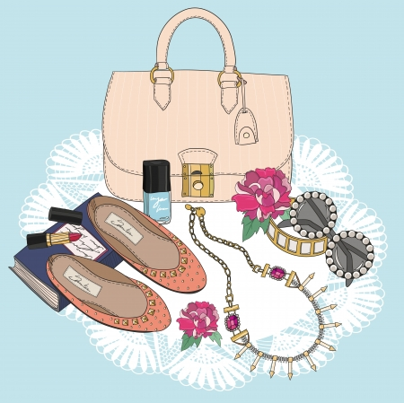 pastel shades: Fashion essentials. Background with bag, sunglasses, shoes, jewelery, makeup and flowers.