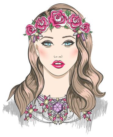colliers: Jeune illustration de mode de fille. Fille avec des fleurs dans ses cheveux et un collier de d�claration