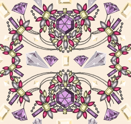 Seamless pastel jewelery necklace kaleidoscope pattern. Vector