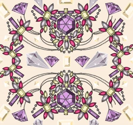 diamond shape: Seamless pastel jewelery necklace kaleidoscope pattern.