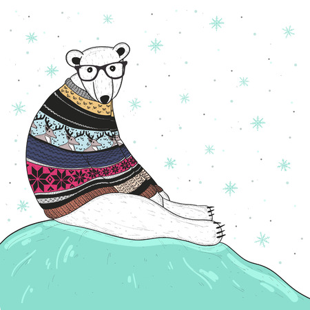 Christmas card with cute hipster polar bear. Bear with fair isle style sweater. Иллюстрация