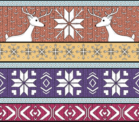 fair isle: Hand drawn seamless knitted background in fair Isle style with deers and snowflakes
