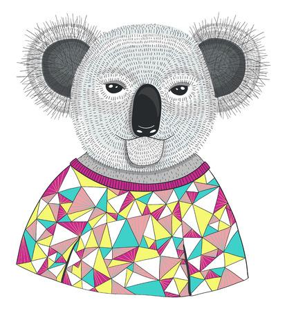 Cute hipster koala. Illustration