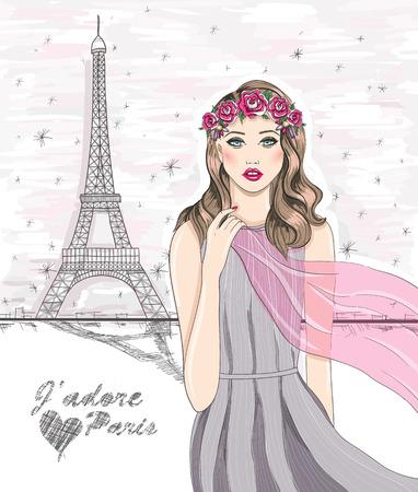 Fille près de la tour Eiffel. Main dessinée carte postale de Paris. Vecteurs