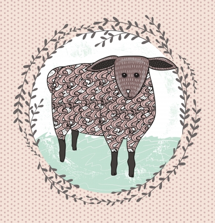 Cute little sheep illustration for children. Vector