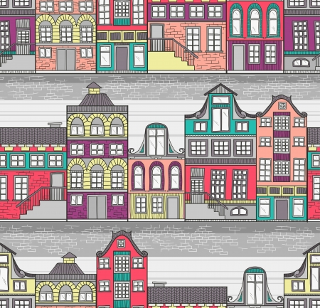 canal: Cute Amsterdam houses seamless pattern