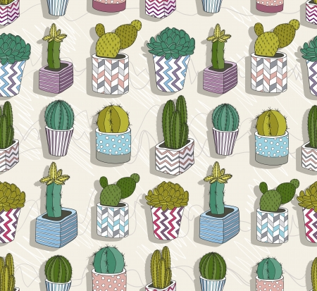 cactus flower: Cute seamless cactus patter