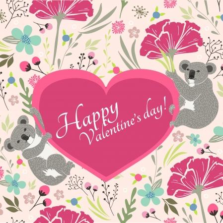 Floral Valentijnsdag kaart met leuke koala