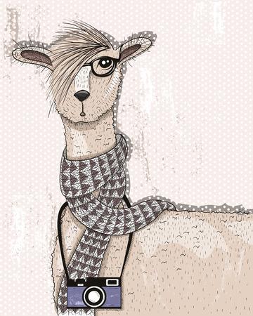 Cute bederní lama s fotoaparátem, brýle a šátek Ilustrace