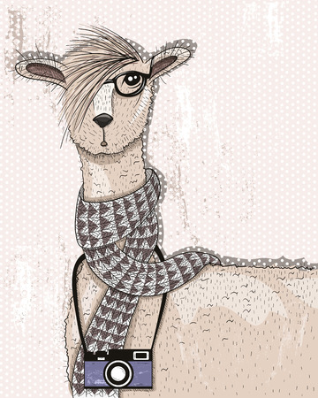 Cute hipster lama with photo camera, glasses and scarf Vector