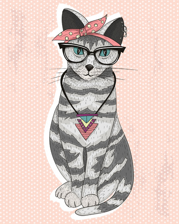 head scarf: Cute hipster rockabilly cat with head scarf, glasses and necklace