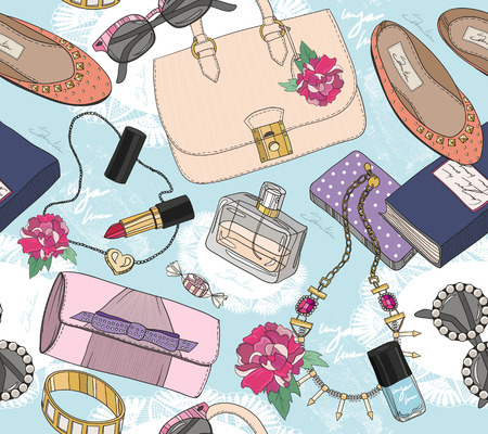 Cute seamless fashion pattern for girls or woman Stock Vector - 27539159