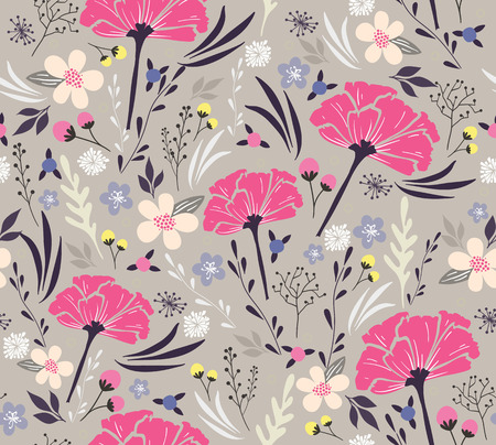 Seamless floral pattern  Background with flowers and leafs