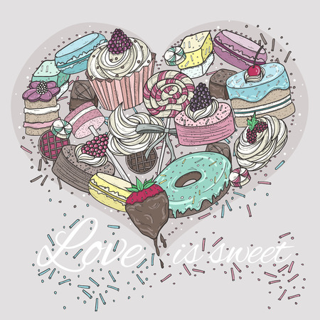 Cute heart from sweets Vector
