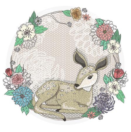 Cute baby deer and flowers frame