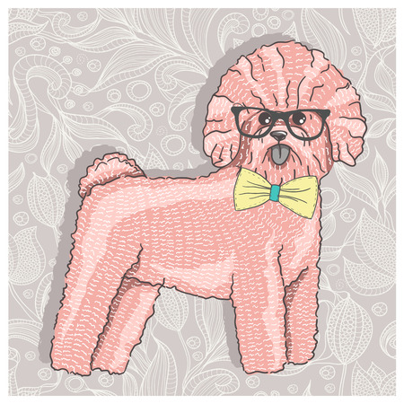 sketch child: Hipster bichon with glasses and bowtie