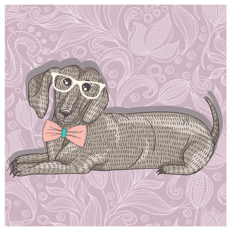 pattern flower: Hipster dachshund with glasses and bowtie  Cute puppy illustration for children
