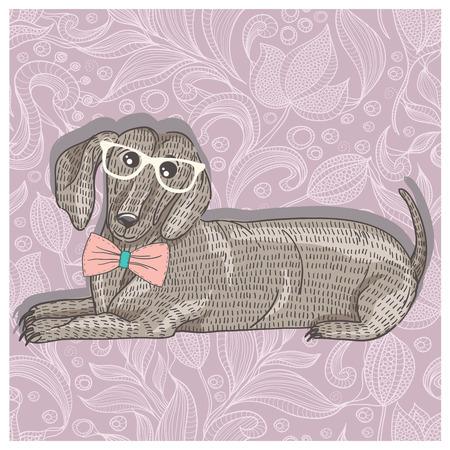 dessin fleur: Teckel hippie avec des lunettes et n?ud papillon Illustration mignonne de chiot pour les enfants Illustration
