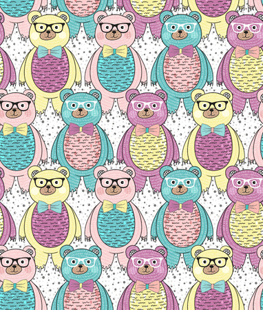 Seamless pattern with cute hipster bears for children or kids