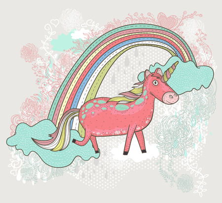 Cute unicorn illustration for children or kids  Doodle floral pattern  Vector