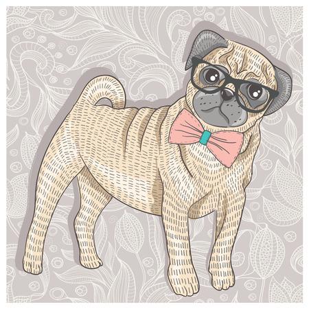 Pug Hipster con gafas y bowtie lindo perrito Vectores