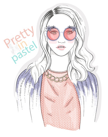 sunglasses cartoon: Young girl fashion illustration. Pastel fashion trend.