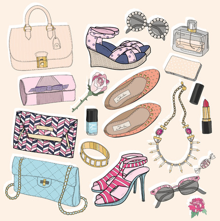 pastel shades: Fashion accessories set. Background with bags, sunglasses, shoes, jewelery, makeup and flowers.