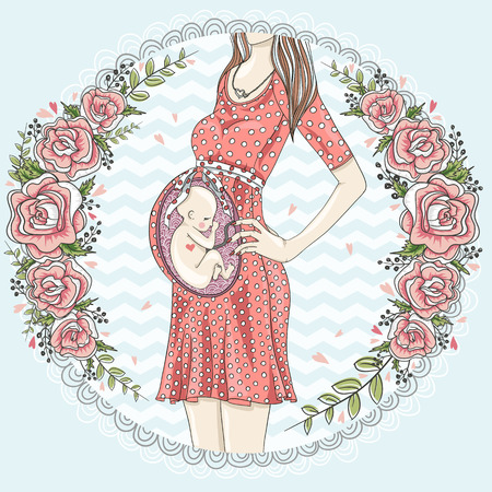 bump: Pregnant woman with cute baby  and flower frame.
