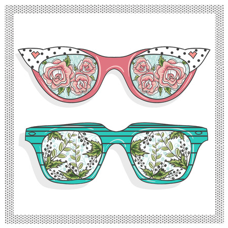 sunglasses cartoon: Vintage sunglasses with cute floral print for him and her.