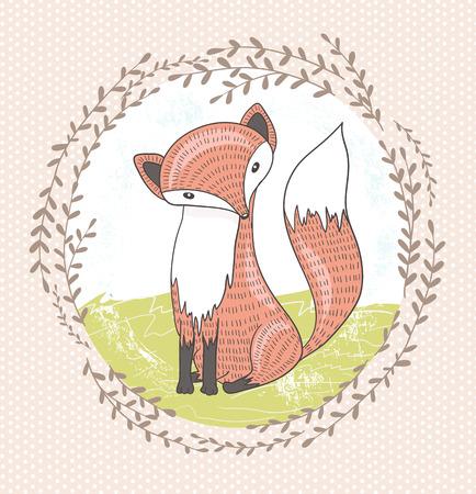 Cute little fox illustration for children Vector