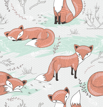 Cute seamless pattern with little foxes. Vector