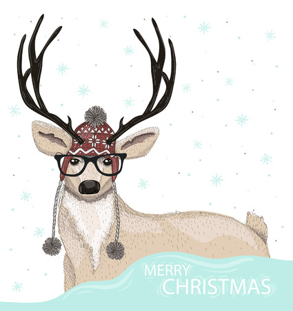 Cute hipster deer with hat and glasses winter background. Christmas greeting card