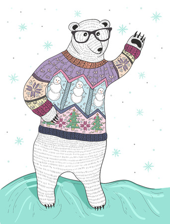 Cute hipster polar bear with glasses and christmas sweater