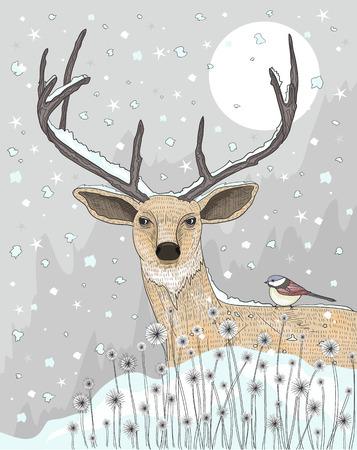 moon flower: Cute reindeer and bird christmas night background.