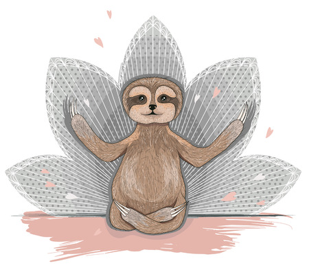 animal fauna: Cute sloth meditation. Yoga lotus asana. Illustration