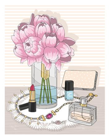 elementos esenciales de la moda. Fondo con joyas, perfumes, maquillaje y flores. Accesorios de moda.