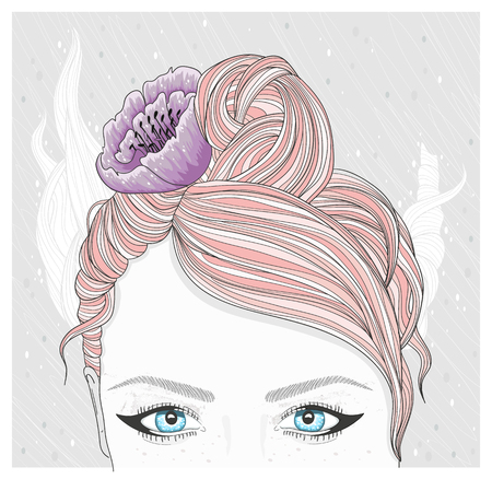 pastel color: Young girl with flower in her hair. Fashion illustration.