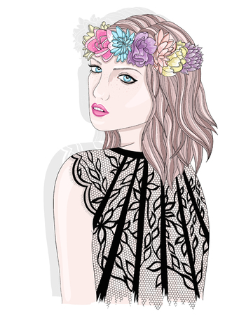 girl illustration: Young girl  with flower crown. Fashion illustration.