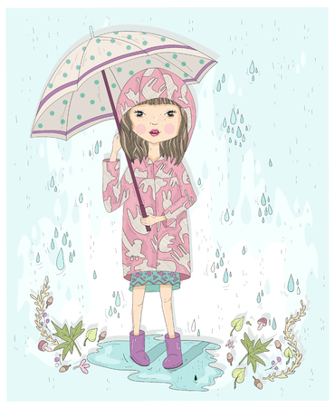 Cute little girl holding umbrella. Autumn background with rain, leafs and puddle. Illustration for kids or children.