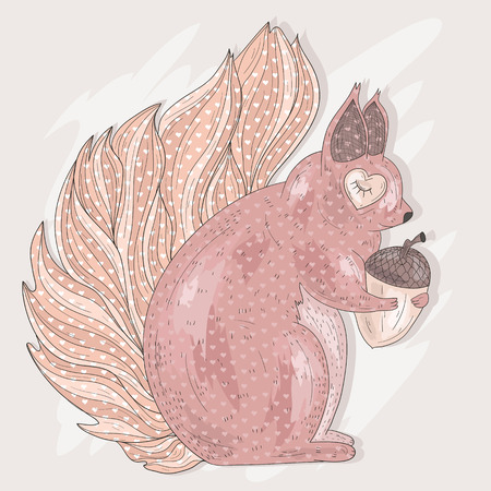 pastel backgrounds: Cute pink squirrel holding acorn. Illustration for kids or children.
