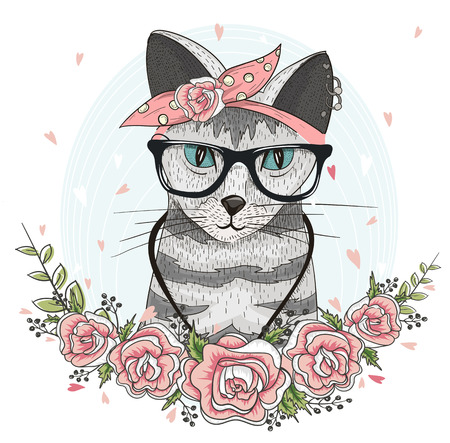 trendy girl: Cute hipster cat with glasses, scarf and flowers.