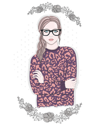 sweater girl: Young fashion girl illustration. Hipster girl with glasses and flowers.